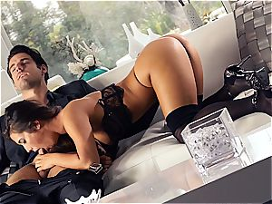 magnificent Eva Lovia is training her bf some manners before the party
