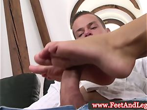 Victoria Blaze uses soles for footjob for fortunate stud