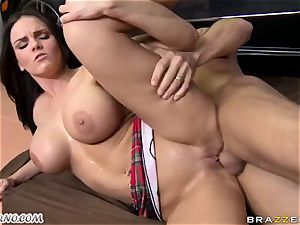insane housewife has fuckfest with her husband's mate in the garage