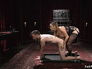 big-titted domme paraffin wax and anal poke male slave