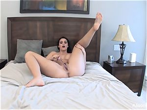 Alison Tyler drains with a glass fuck stick for you