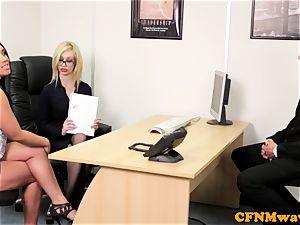 euro CFNM female domination deep-throating knob in office