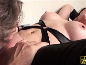 labia licked british mature thumbs her vulva