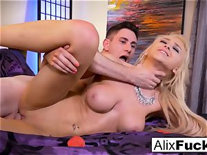 Alix Lynx wanks Brad's wood with her muff and throat